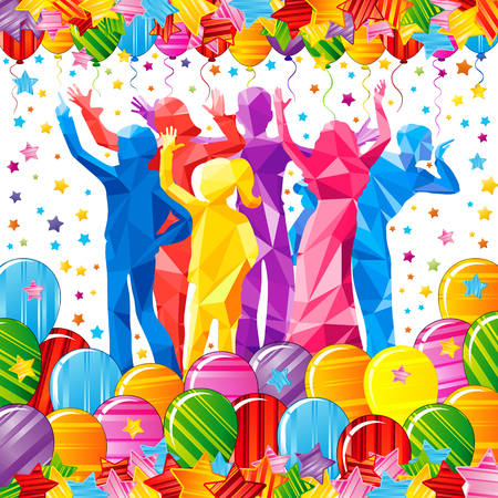Kinder, die polygonale Schattenbilder auf einem weißen Hintergrund in einem Rahmen gemacht von den hellen bunten Sternen und von den Ballonen tanzen. Festliches Vektorplakat. Standard-Bild - 87519264