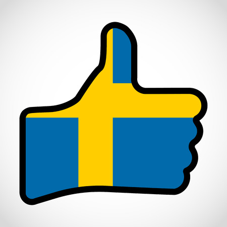 Flag Of Sweden In The Shape Of Hand With Thumb Up Gesture Of