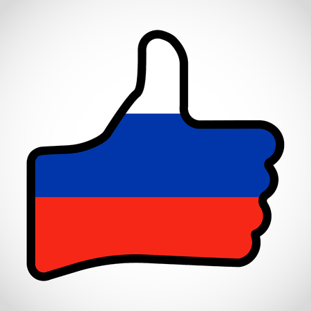 Flag of Russia in the shape of Hand with thumb up Illustration