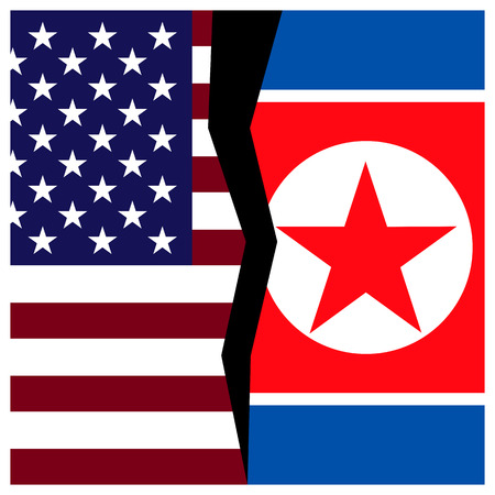 US and North Korea flags with a crack.