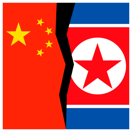 China and North Korea flags with a crack.