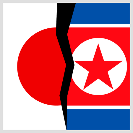 Japan and North Korea flags with a crack. Иллюстрация