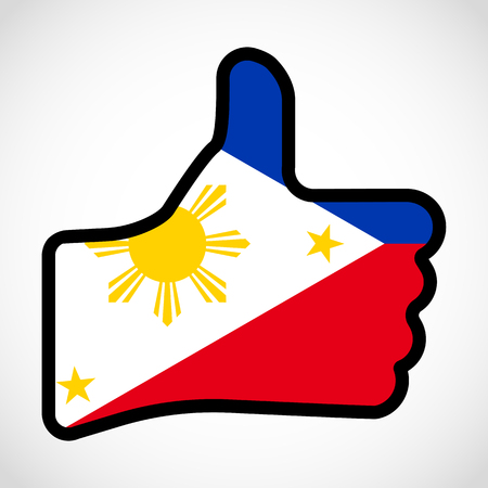 Flag of Philippines in the shape of Hand with thumb up, gesture of approval, meaning Like, vector finger sign, flat design illustration.
