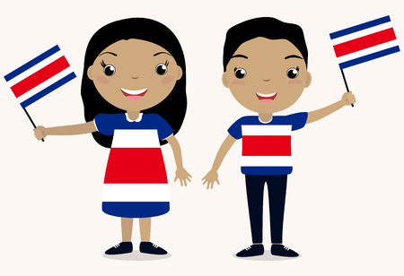 Smiling chilldren, boy and girl, holding a Costa Rica flag isolated on white background. Vector cartoon mascot. Holiday illustration to the Day of the country, Independence Day, Flag Day.