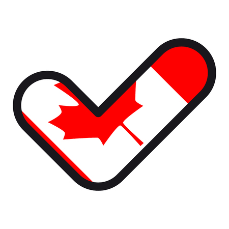 parliament: Flag of Canada in the shape of check mark, vector sign approval, symbol of elections, voting. Illustration