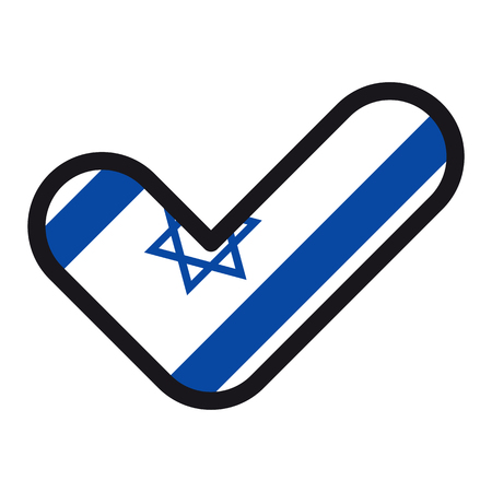 Flag of Israel in the shape of check mark, vector sign approval, symbol of elections, voting. Illustration