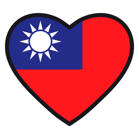 formosa: Flag of Taiwan in the shape of Heart with contrasting contour, symbol of love for his country, patriotism, icon for Independence Day.