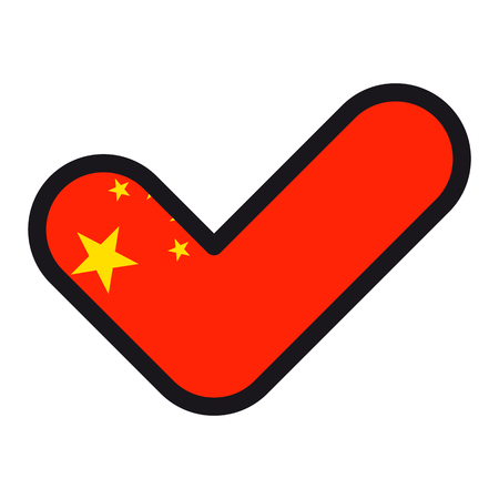Flag of China in the shape of check mark, vector sign approval, symbol of elections, voting.