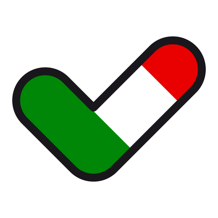 Flag of  Italy in the shape of check mark, vector sign approval, symbol of elections, voting.