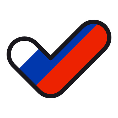 Flag of Russia in the shape of check mark.