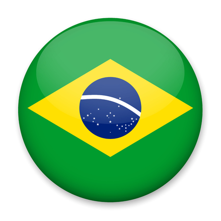 Flag of Brazil in the form of a round button with a light glare and a shadow. The symbol of Independence Day, a souvenir, a button for switching the language on the site, an icon.