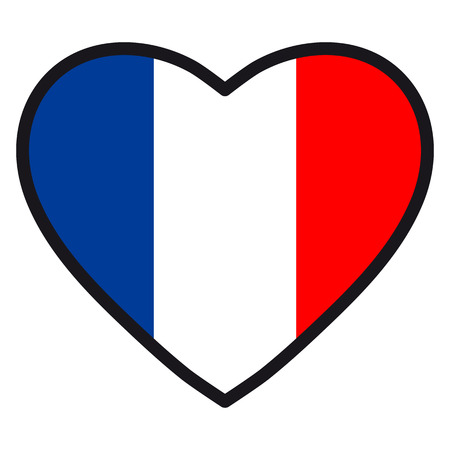 Flag Of France In The Shape Of Heart With Contrasting Contour