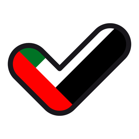Flag of UAE in the shape of check mark, vector sign approval, symbol of elections, voting. Illustration