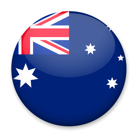 Flag Of Australia In The Form Of A Round Button With A Light