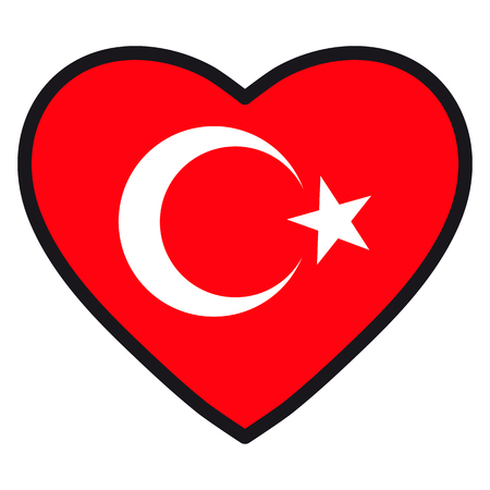 Flag of Turkey in the shape of Heart with contrasting contour, symbol of love for his country, patriotism, icon for Independence Day. Illustration