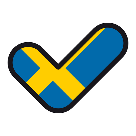 Flag of Sweden in the shape of check mark, vector sign approval, symbol of elections, voting.