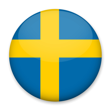 Flag of Sweden in the form of a round button with a light glare and a shadow. The symbol of Independence Day, a souvenir, a button for switching the language on the site, an icon.