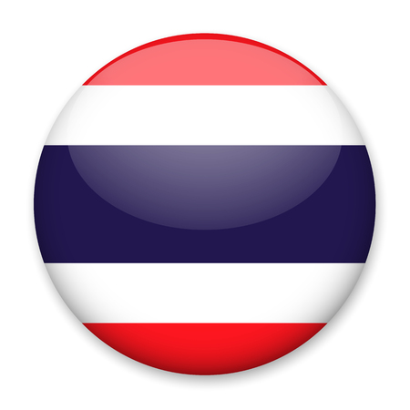 Flag of Thailand in the form of a round button with a light glare and a shadow. The symbol of Independence Day, a souvenir, a button for switching the language on the site, an icon. Illustration
