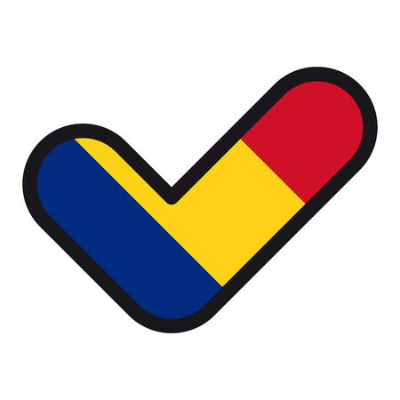 Flag of Romania in the shape of check mark. Illustration