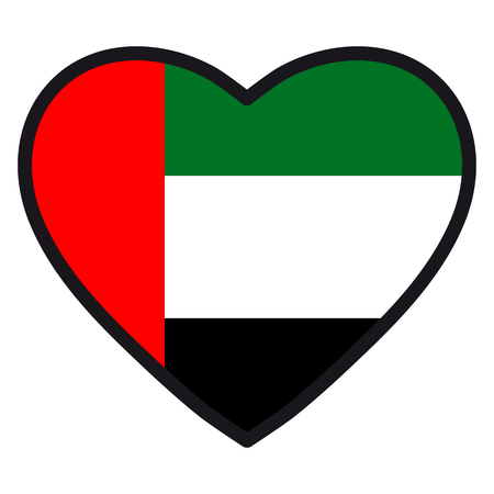 Flag Of Uae In The Shape Of Heart With Contrasting Contour Symbol
