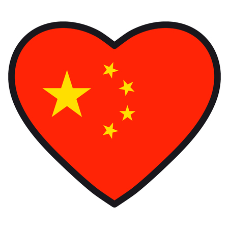 Flag of China in the shape of Heart with contrasting contour, symbol of love for his country, patriotism, icon for Independence Day.