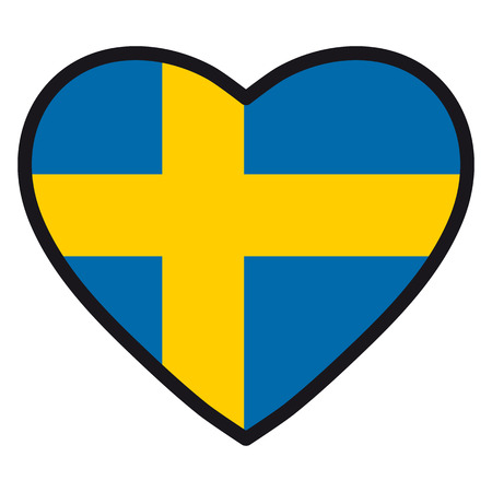 Flag of Sweden in the shape of Heart with contrasting contour, symbol of love for his country, patriotism, icon for Independence Day. Illustration