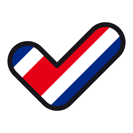Flag of Costa Rica in the shape of check mark, vector sign approval, symbol of elections, voting.