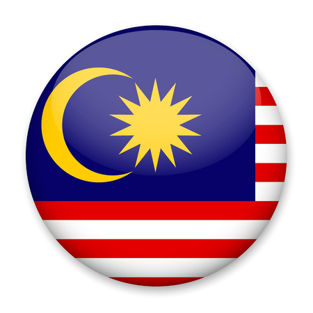 Flag of Malaysia in the form of a round button with a light glare and a shadow. The symbol of Independence Day, a souvenir, a button for switching the language on the site, an icon.