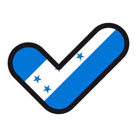 bandera honduras: Flag of Honduras in the shape of check mark, vector sign approval, symbol of elections, voting.