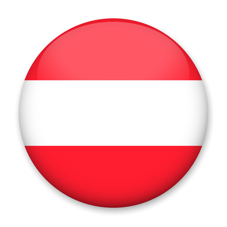 Flag of Austria in the form of a round button with a light glare and a shadow Vectores