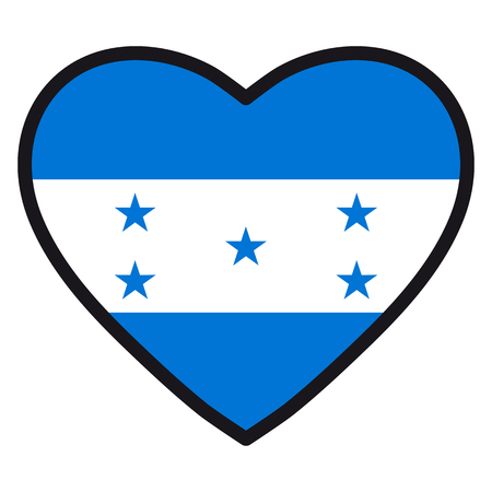 Flag of Honduras in the shape of Heart with contrasting contour, symbol of love for his country, patriotism, icon for Independence Day.