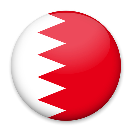 Flag of Bahrain in the form of a round button with a light glare and a shadow. The symbol of Independence Day, a souvenir, for switching the language on the site, an icon.