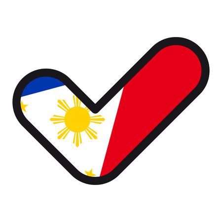 チェック マーク、ベクトル記号承認投票選挙のシンボルの形をしたフィリピンの旗。