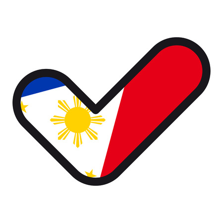 Vlag van Filipijnen in de vorm van een vinkje, vector teken goedkeuring, symbool van verkiezingen, stemmen.