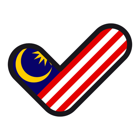 Flag of Malaysia in the shape of check mark, vector sign approval, symbol of elections, voting.