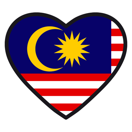 Flag of Malaysia in the shape of Heart with contrasting contour, symbol of love for his country, patriotism, icon for Independence Day.