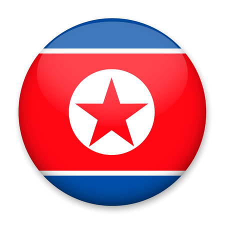 Flag of North Korea in the form of a round button with a light glare and a shadow. The symbol of Independence Day, a souvenir, a button for switching the language on the site, an icon.