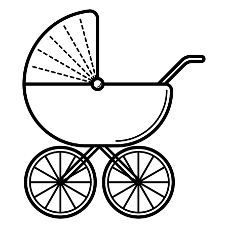 Stroller. Baby icon on a white background, line vector design. Vettoriali