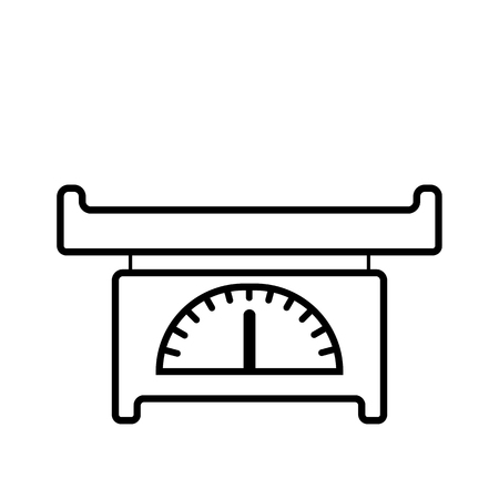Baby scales. Baby icon on a white background, line vector design. Çizim