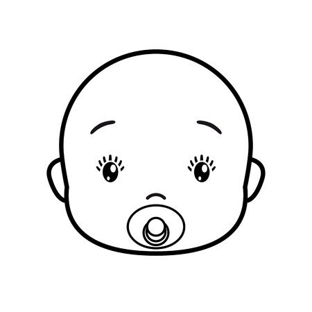 Baby face. Baby icon on a white background, line vector design.