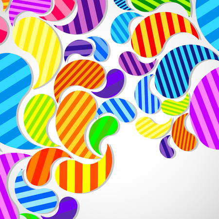 Bright striped colorful curved drops spray on a light background, vector color design, graphic illustration.