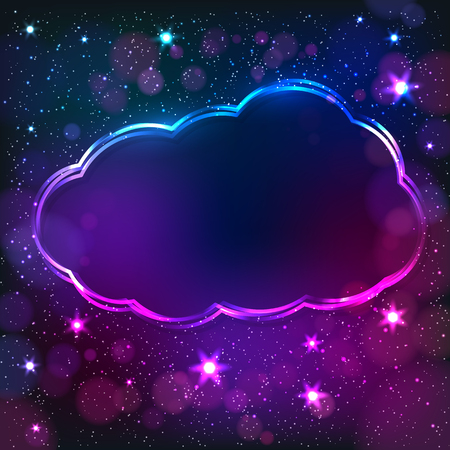 Colorful neon cloud frame on a dark star background, vector abstract illustration. Vectores