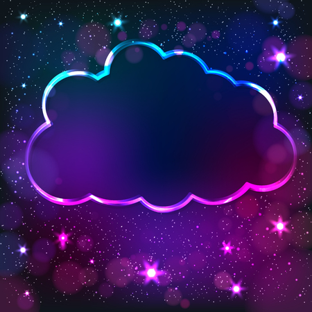 Colorful neon cloud frame on a dark star, abstract illustration.