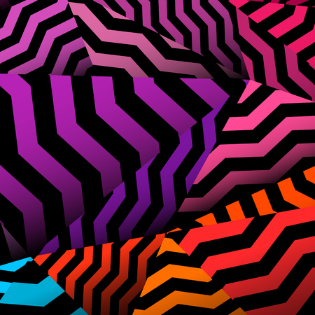 Chevron background, rippled rainbow and black pattern.