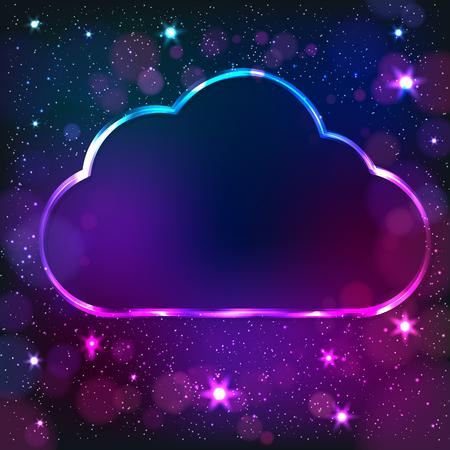 Colorful neon cloud frame on a dark star illustration.