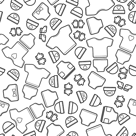 Cute baby seamless pattern, isolated line art decoration background.