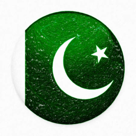 Watercolor Flag of Pakistan in the form of a round button with a light glare and a shadow. The symbol of Independence Day, a souvenir, a button for switching the language on the site, an icon.