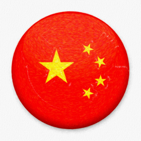 Watercolor Flag of China in the form of a round button with a light glare and a shadow. The symbol of Independence Day, a souvenir, a button for switching the language on the site, an icon.