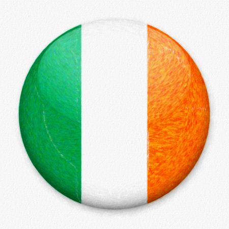 Watercolor Flag of Ireland in the form of a round button with a light glare and a shadow. The symbol of Independence Day, a souvenir, a button for switching the language on the site, an icon.