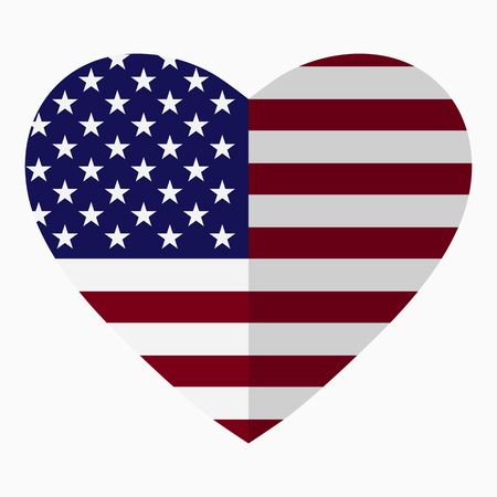 Flag of America in the shape of Heart, flat style, symbol of love for his country, patriotism, icon for Independence Day.